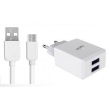 Carregador de corrente 2 USB 2,4A + cabo micro USB branco 1m 2A