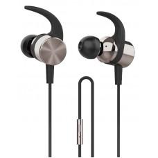 Auriculares IN-EAR HP com microfone e gancho sport - dourado